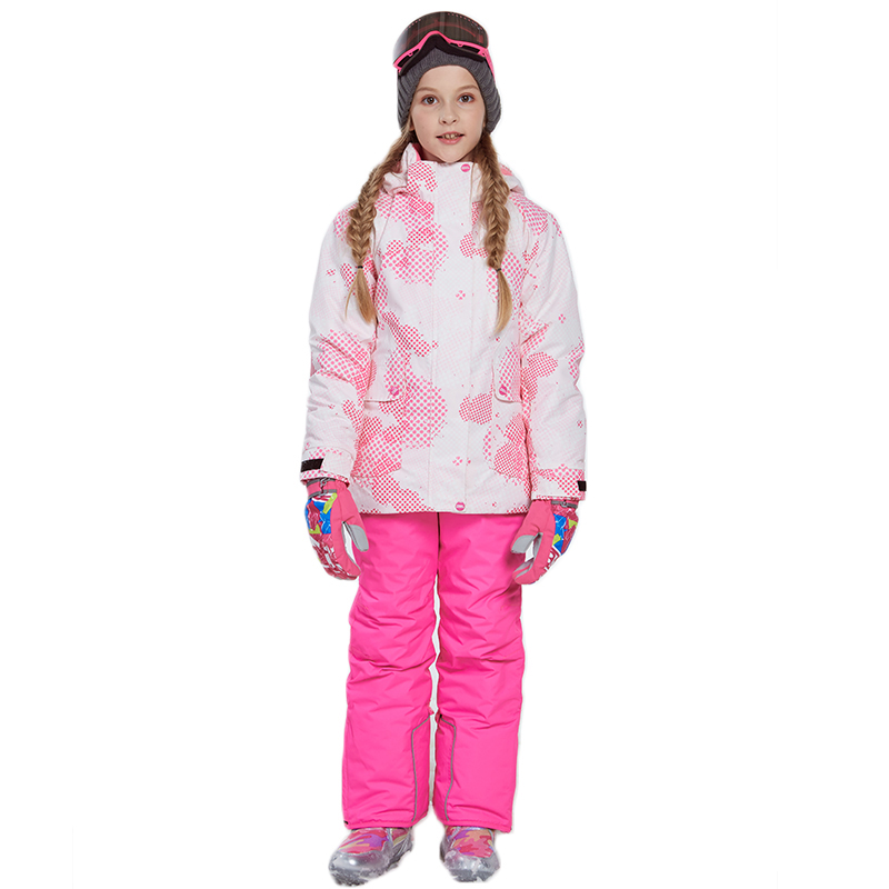 Dollplus Girl Winter Snow Sets Windproof Ski Jacket and Pant Outdoor Children Clothing Set Teens Kids Warm Ski Suit for Girls