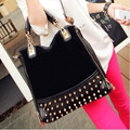 Luxury Rivet 2017 Women vintage suede leather designer famous brand handbags female casual tote bag bolso mujer sac femme 45