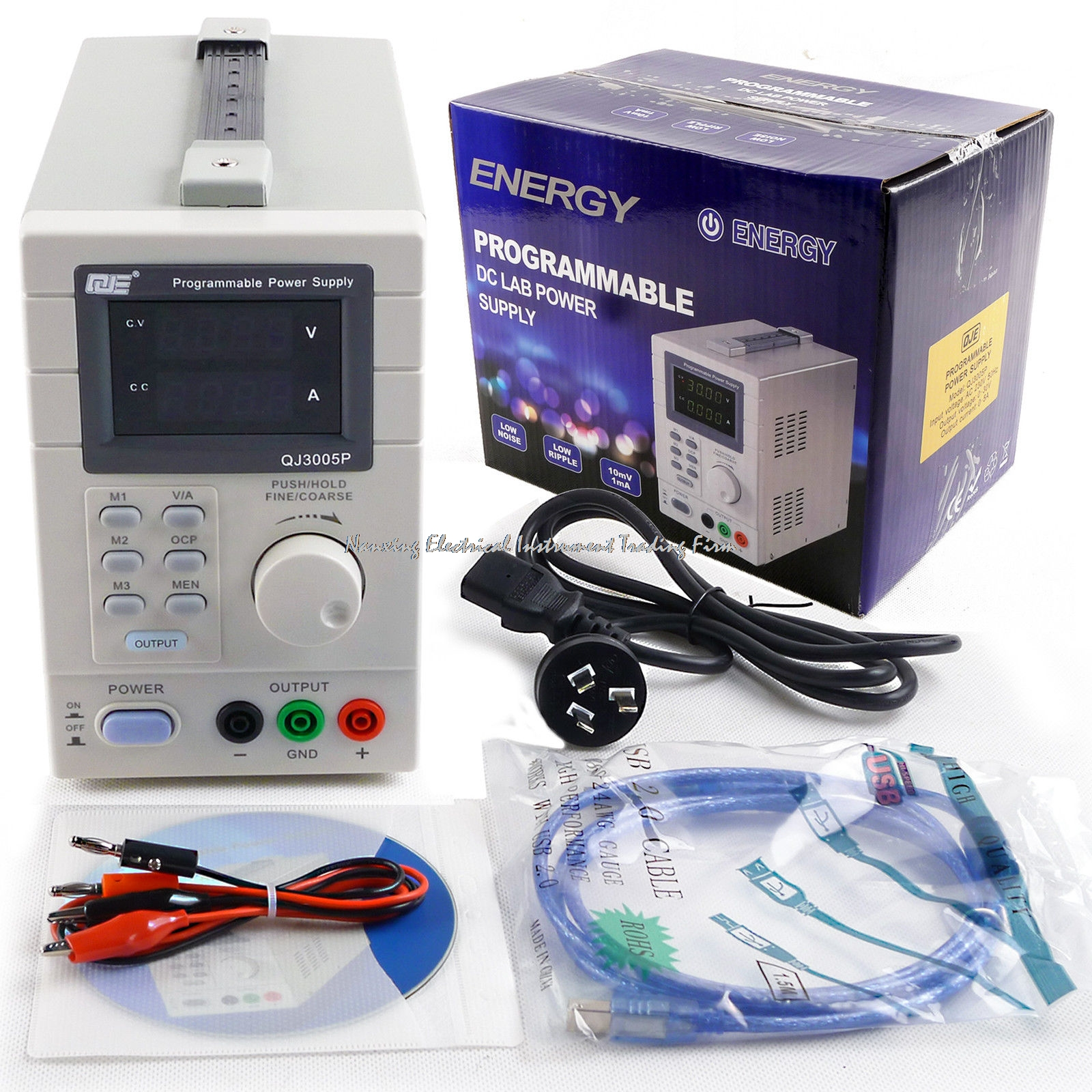 fast arrival QJE QJ3005P USB PROGRAMMABLE DC LAB POWER SUPPLY Single phase 0-30V/5A 2.0 LCD Screen  resolution 10mV 1mA fast arrival hspy30v 10a dc programmable power supply output of 0 30v 0 10a adjustable rs232 port
