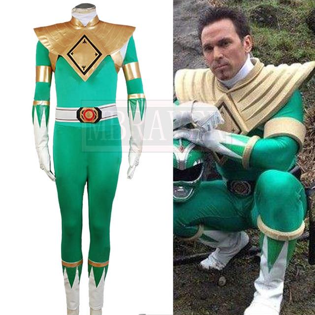 29b5dcba089 Mighty Morphin Power Rangers Cosplay Costume Dragon Ranger Mighty Morphin   Green Power Ranger Costume Green Jumpsuit Uniform
