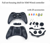 Black Xbox 360 Wired Controller Shell Buttons Thumbsticks Replacement Case Custom Cover Kit