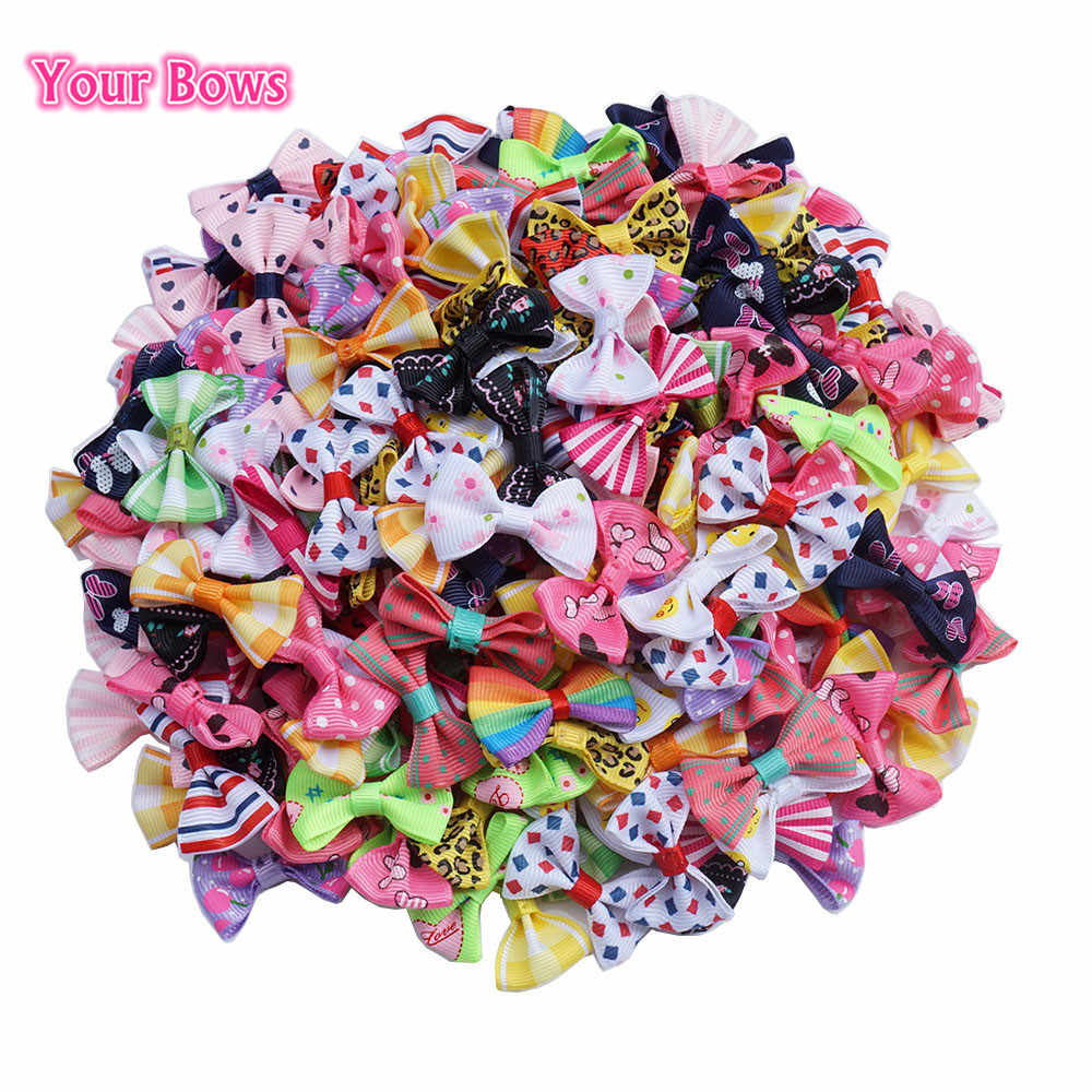 Your Bows 100 Pcs/lot Mini Pringting Ribbon Bow Pet Bowknot Craft ONLY BOW NO CLIPS DIY Wedding Decor Hair Accessories Wholesale