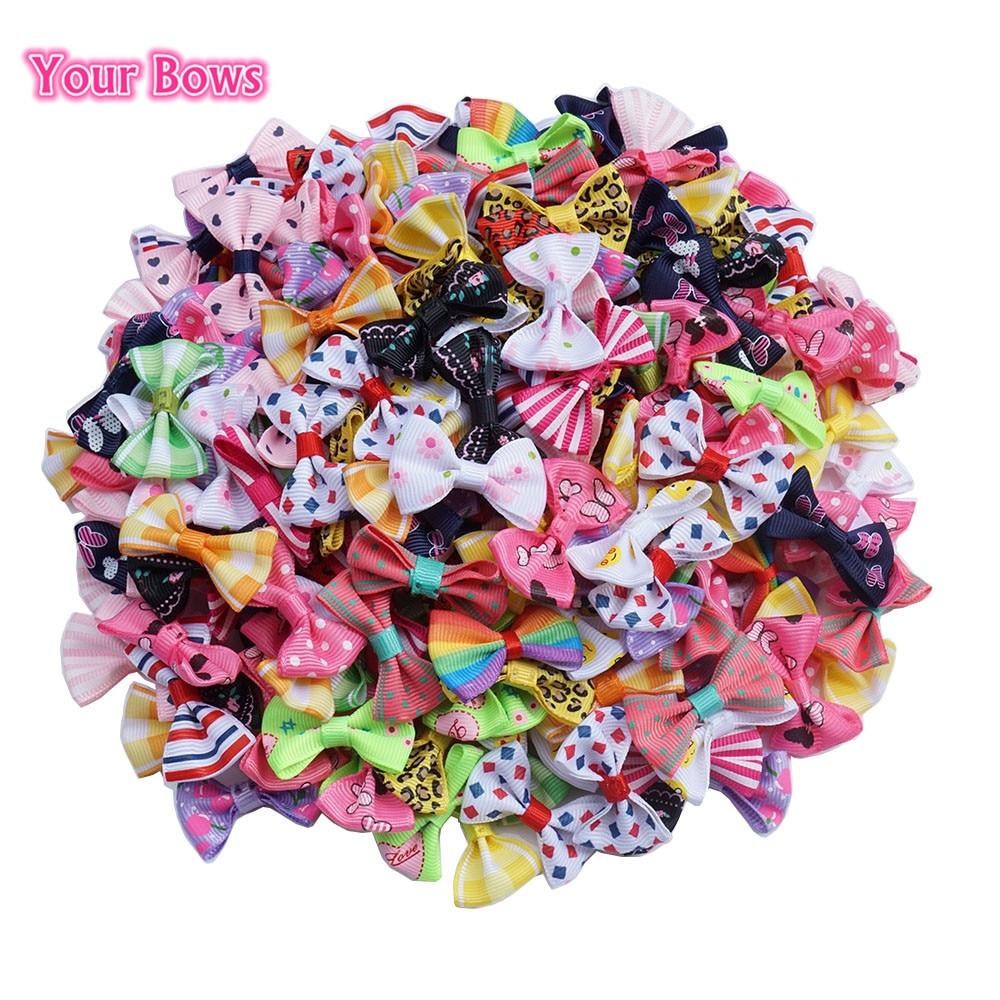 Your Bows 100 Pcs/lot Mini Pringting Ribbon Bow Pet Bowknot Craft ONLY BOW NO CLIPS DIY Wedding Decor Hair Accessories Wholesale