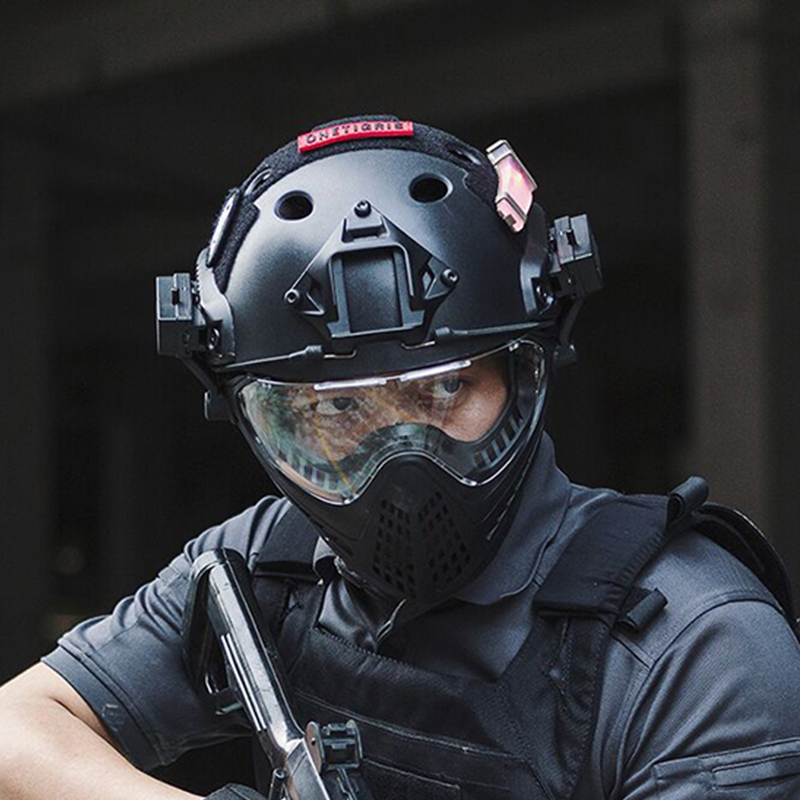 OneTigris Tactical Integrated Helmet F22 With Removable Face Mask And Goggles Anti-fog Treated Lens Facial Protection