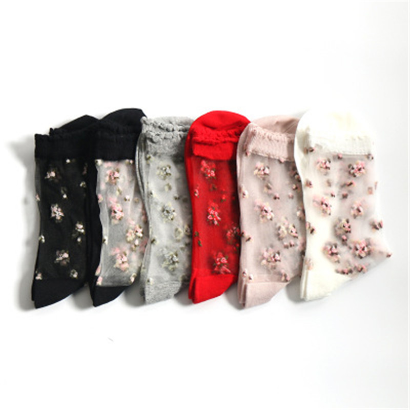 HTB1X2rYGNGYBuNjy0Fnq6x5lpXaJ - 1 Pair Breathable Ultra Thin Socks Summer Women Transparent Lace Silk Crystal Rose Flower Girls Elastic Short Socks Female Sox