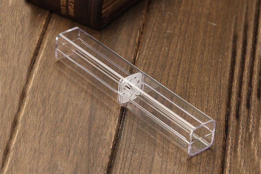 2pcs/lot Hexagonal Crystal Transparent Plastic Pen Pen Box Gift Box Metal Pen Box Transparent Plastic Pencil Case