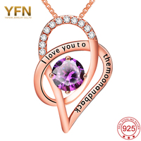 YAFEINI 925 Sterling Silver Jewelry Charm Purple CZ Heart Pendant Necklace I LOVE YOU TO THE
