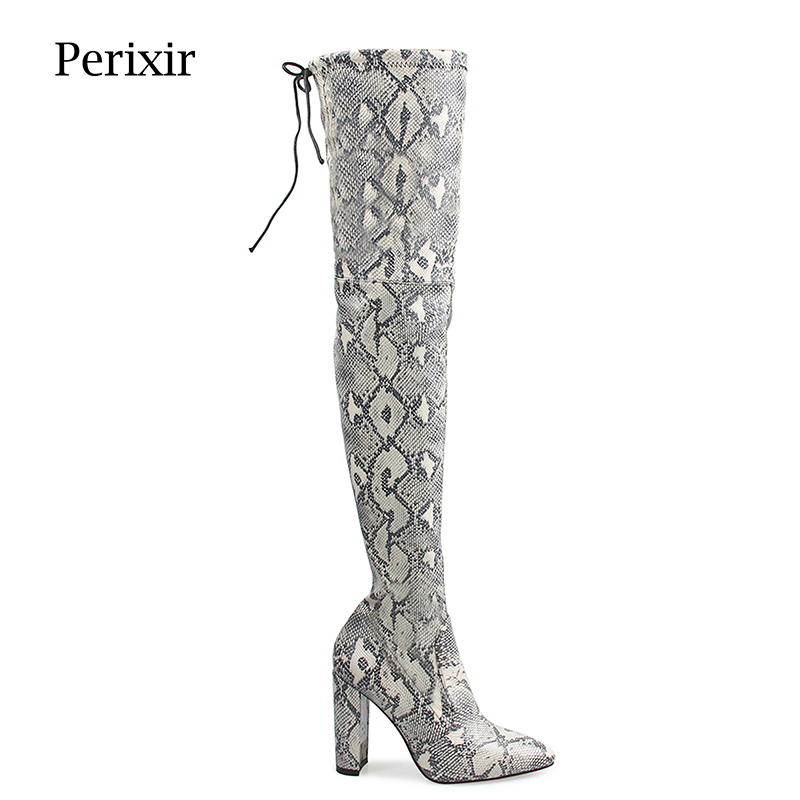 Perixir Women Snake Over Knee High Boots Winter Fashion PU High Heels Boots 10 CM Pointed Toe Square Heel Warm Boots Shoes цены онлайн