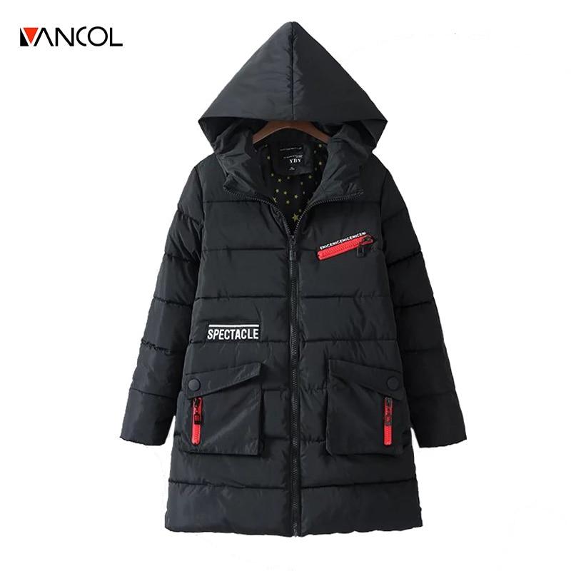 vancol manteau femme casual loose zipper long winter coat women hooded female fashion jacket coats cotton down parka women's