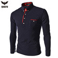 2016 New Brands Mens Dot Long Sleeve POLO Shirts Brands  Long Sleeve Camisas Polo Stand Collar Male Polo Shirt Size 3XL. KJHB