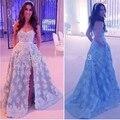 Arábica Recém Design Uma Linha Querida o Laço Branco Apliques Cinza Tulle Long High Dividir Lace Elegante Vestido de Noite Vestido Formal