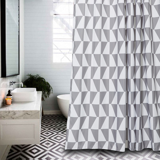 Memory Home Simple Style Gray Small Triangles Pattern Waterproof Polyester Fabric Bathroom Geometric Shower Curtain White