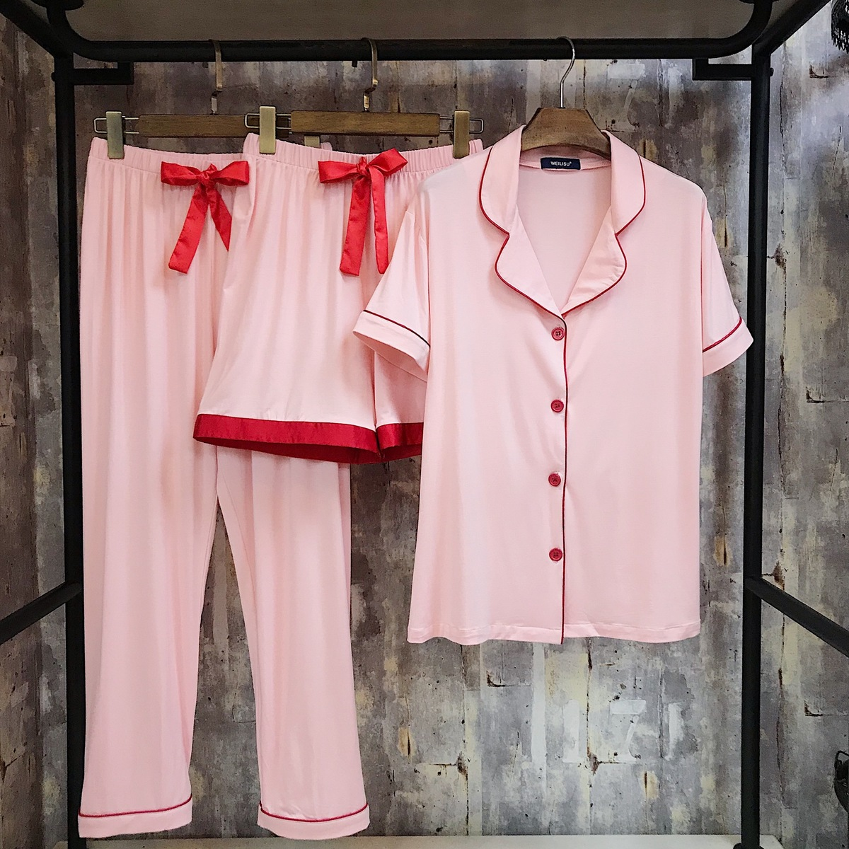 RenYvtil 2018 Spring and Summer Womens Modal Pajamas Color Matching Short Sleeve Trousers Set Three Piece Home Cloth Sleepwear