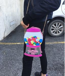 Image 4 - Śliczne moda automat z cukierkami Pu Laser Pu młoda dziewczyna Crossbody Mini torba na ramię torebka damska Flap Bolsa torebka