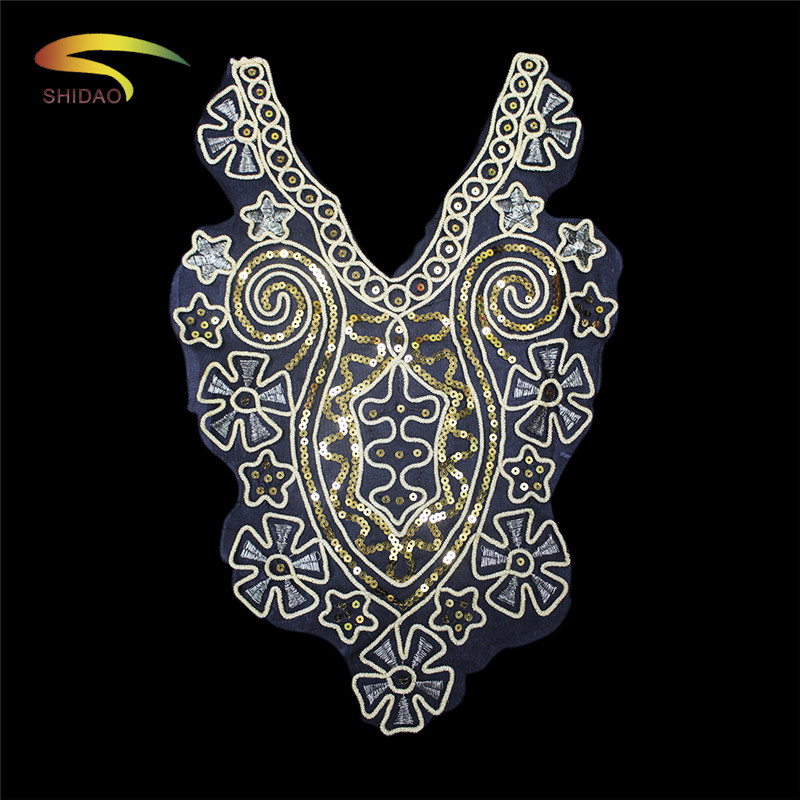 100 Polyester Luxury Sequins Lace Collar Lace Trim DIY Embroidery French Lace Fabric Neckline Applique Sewing Accessories Crafts in Lace from Home Garden