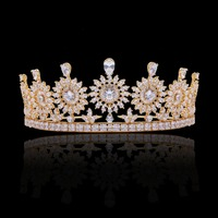 Cubic Zirconia Classic Big Royal Wedding Bridal Tiara Crown Diadem Women Girl Hair Accessories Jewelry