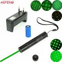 AIFENG 851 Laserpointer 532nm Grünen Laser + Stern Kopf + 16340 Batterie + EU Ladegerät Tragbare Licht Für Lehre ausbildung Laserpointer