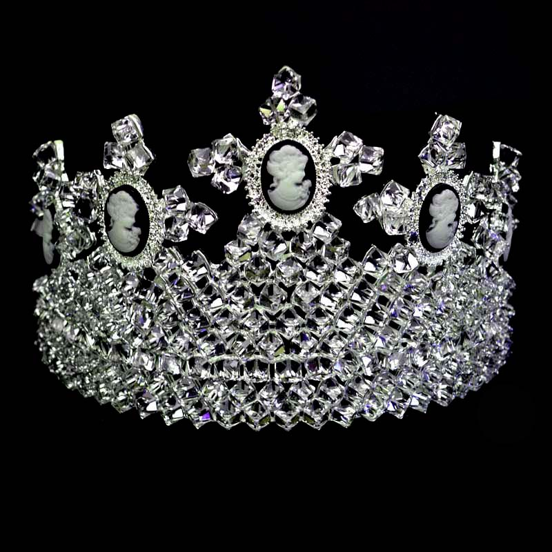 Luxury Large Tiara Wedding For Women New Style High Quality Silver Crown and Full Crystal Bride Choose Ball Crown For Wedding
