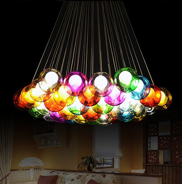 Fashion led bulb glass ball pendant chandelier colorful for Diy led chandelier