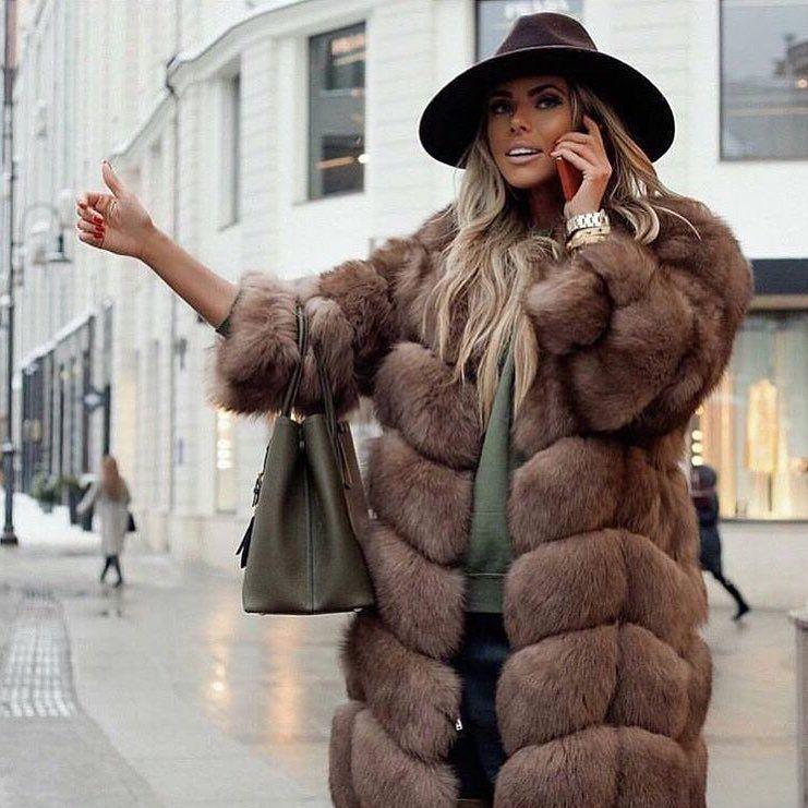 2018 inverno nuova collezione reale della pelliccia di fox della maglia con manica lunga 90 cm lungo naturale cappotto di pelliccia per le donne outwear amburgo disegno