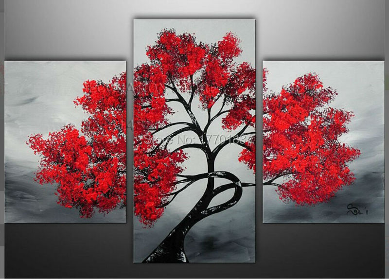 Handmade Modern Abstract Red Tree Landscape Oil Painting On Canvas 3 ...