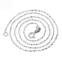 Fashion 2mm 925 Jewelry Silver Plated Water Wave Necklace Chains, Silver Water Wave Chain Necklaces For Women 18inches(China)