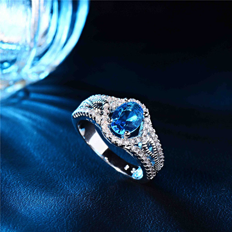 QCOOLJLY Amazing Blue Zircon CZ Silver Color Party Rings