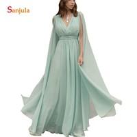 Mint Green Bridesmaids Dress With Maxi Long Sleeves V neck Chiffon Formal Party Dress Vestidos Para Madrinhas De Casamento