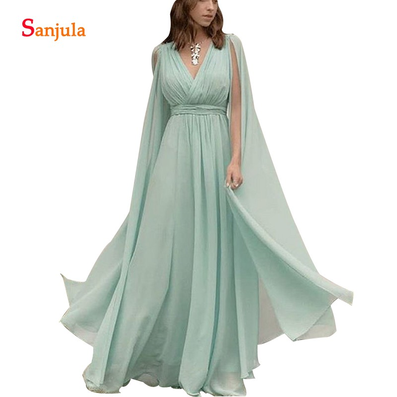 Vestidos Para Madrinhas De Casamento Mint Green   Bridesmaids     Dress   With Maxi Long Sleeves V-neck Chiffon Party   Dress