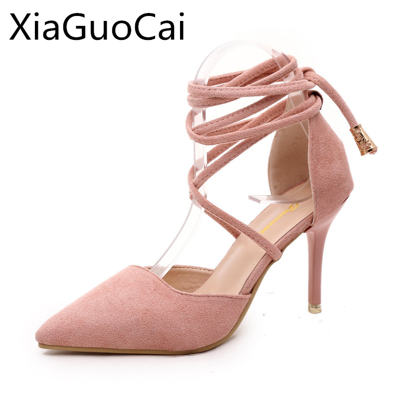 High Quality Brand Pointed Toe Women Pumps Summer Fashion High Heels Shoes Back Strap Thin Heels Pumps Solid Shoes 12