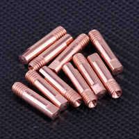 LETAOSK 10 stücke Gold MB 15AK MIG/MAG Schweißen Taschenlampe Kontaktieren Spitze Halter Gas Düse 0,8x24mm kupfer M6