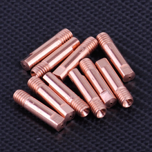 LETAOSK 10pcs Gold MB 15AK MIG/MAG Welding Torch Contact Tip Holder Gas Nozzle 0.8 x 24mm Copper M6