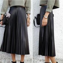 45f8c855b26 Free Shipping Maxi Long Pleated Women Vintage High Waist PU Leather Skirt  Plus Size