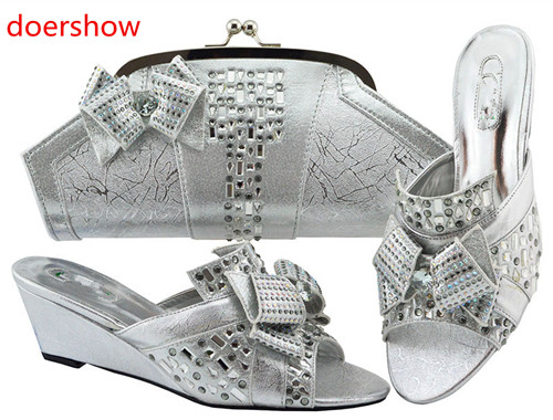 Doershow 2018 nouvelles chaussures italiennes assorties et sac ensemble Style africain dames MAGENT chaussures et sac pour correspondre à la robe de mariée! HH1-13 - 3