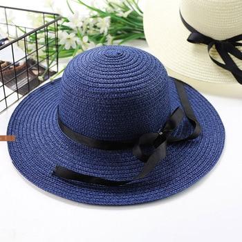10pcs/lot 01804-denwei2044 beach summer solid paper straw kids hat girl boy children Outdoor leisure cap