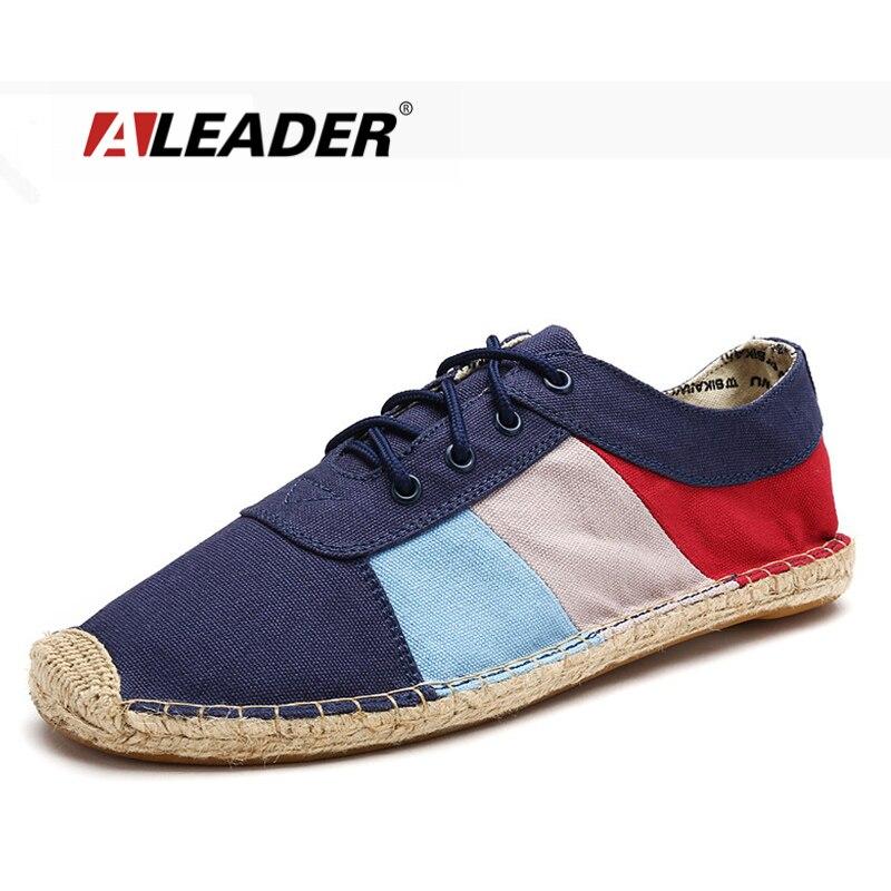 Aliexpress.com Comprar Aleader Moda Casual Alpargatas Zapatos de Lona de Los Hombres Respirables 2016 de Primavera A Rayas de Encaje de Los Hombres