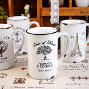 Free Shipping Z Cute 4 Design Vintage Eiffel Tower Enamel Coffee Mug Ceramic Retro Cup Chinese