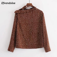 Efvandoloe Women Halter Cold Shoulder Tops Polka Dot Blouse Coffee Long Sleeve Elegant Womens Top Camisa