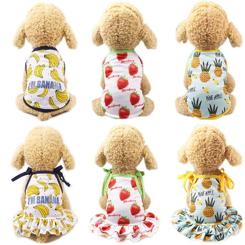 Summer Pet Couple Outfit Dog Dress T shirt for Small Dogs Fashion Sweet Pet Clothes Cat Dress Vest Puppy Clothing Chihuahua Pug