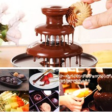 Ru DIY 3-tier Chocolate Fountain Fondue Mini Choco waterfall machine Three Layers Children Wedding Birthday heat melts EU plug недорого