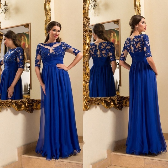 Abendkleider 2017 Royal Blue Half Sleeve A-Line Long   Evening     Dresses   Plus Size Appliques Beaded Prom Gowns Vestido de noche Hot