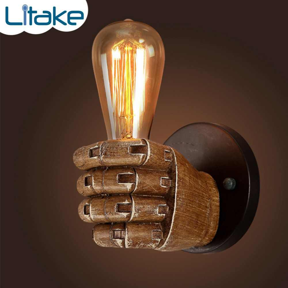 Retro Creative Fist Shape Wall Light E27 Lamp Holder Vintage Industrial Style Wall Lamp Restaurant Living Room Cafe Bar Decor