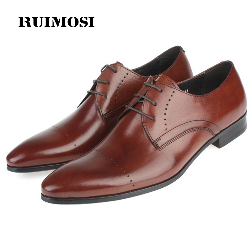 RUIMOSI Pointed Toe Laced Man Formal Dress Shoes Genuine Leather Male Derby Wedding Oxfords Luxury Brand Men's Bridal Flats PF76
