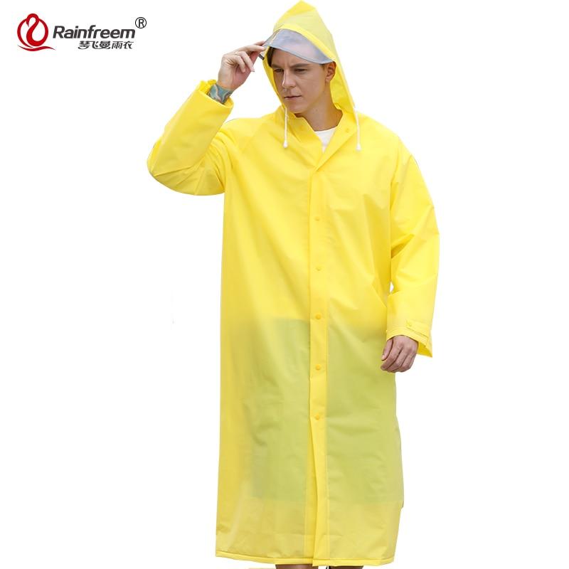 Rainfreem 2017 New Light Weight EVA Raincoat Women/Men Impermeable Plastic Transparent Rain Coat 7 Colors Rain Gear Poncho