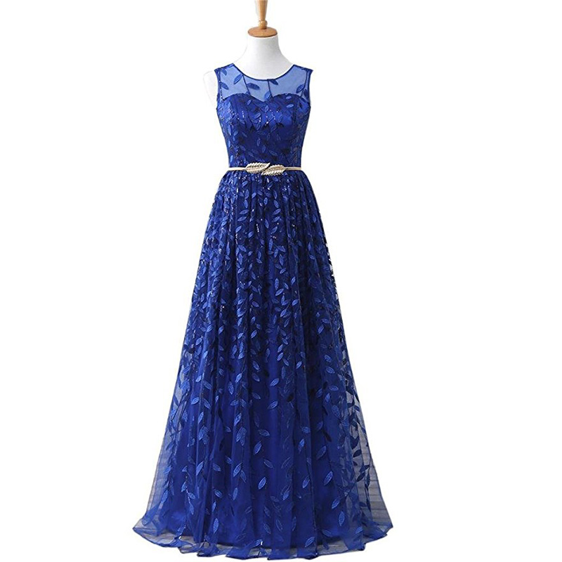2019 New Lace   Prom     Dresses   Sleeveless A-line Metal Sashes Royal Blue Burgundy   Prom   Gowns Long Cheap vestido longo festa gala