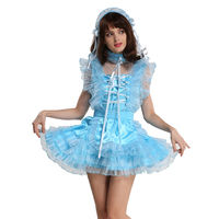 Gocebaby Lockable Sissy Maid Satin Organza Light Blue Puffy Dress Cosplay Costume