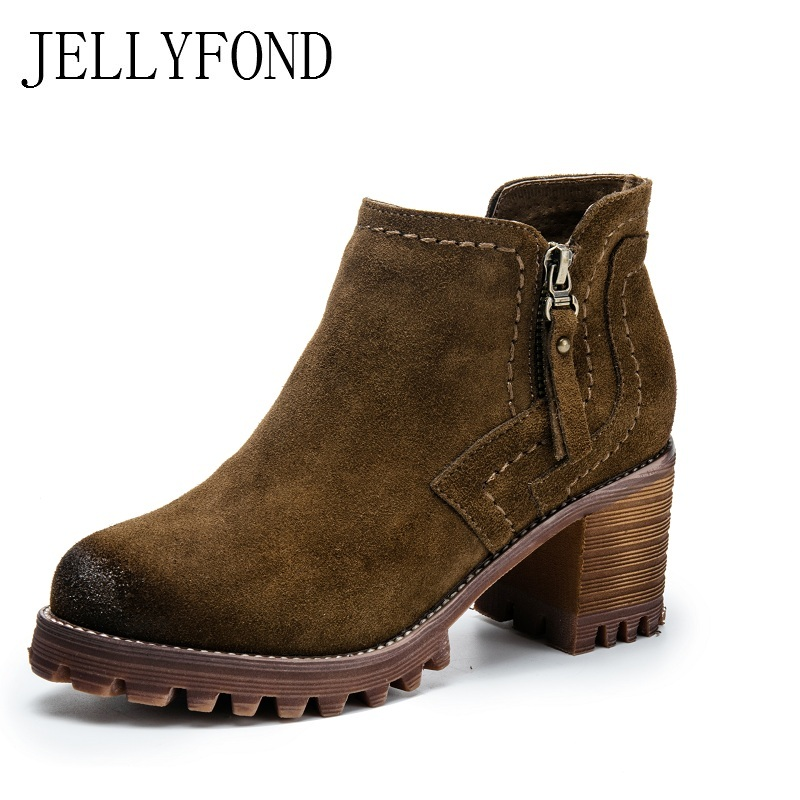 JELLYFOND Cow Suede High Heels Ankle Boots Women 2017 Brand Designer Chunky Heels Platform Boots Handmade Shoes Woman  brand new suede leather women platform boots famous designer high heels dress shoes woman gladiator luxury women ankle boots