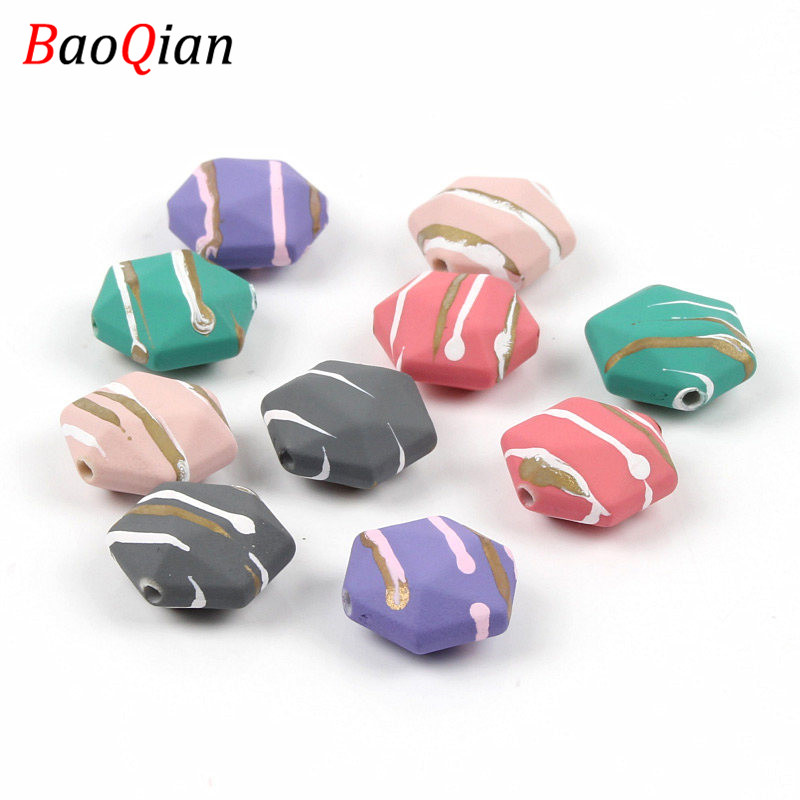 10PCS Striped Acrylic Beads DIY Hexagon Shape Plane Loose Beads Making Earrings Necklace Pendant Jewelry Accessories 18mm(China)