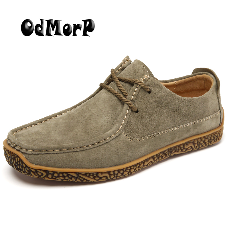 ODMORP Men's Shoes Suede Leather Casual Shoes Spring Lace Up Comfort Fashion Shoes For Men Solid Quality Moccasin Footwear bimuduiyu trend casual shoes for men fashion light breathable lace up male shoes high quality suede leather black flats shoes