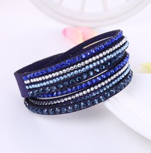 New Leather Bracelet Rhinestone Crystal Bracelet Wrap Multilayer Bracelets for women feminino pulseras mulher Jewelry